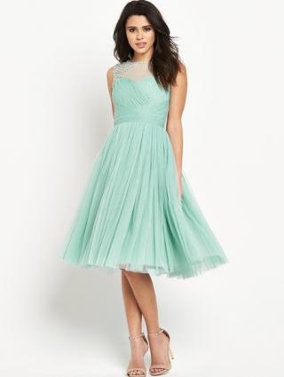 Embellished Sheer Midi Dress