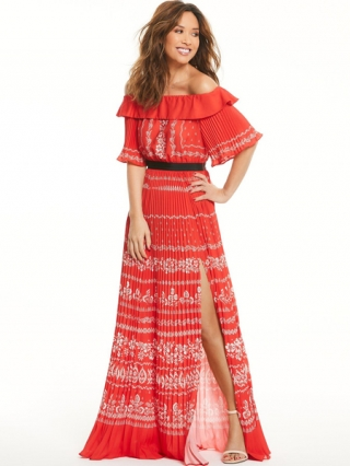 Pleated Bardot Maxi Dress