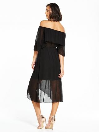 Island Bardot Frill Midi Dress