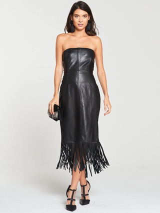 Leather Bardot Midi Dress