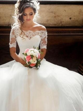Illusion Off-the-shoulder Princess Wedding Dress