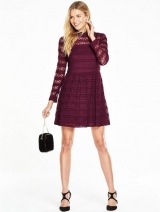Pleated Lace Skater Dress