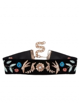Swallow Embroidered Choker