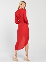 Wrap Shirt Dress - Red