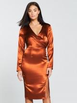 Wrap Satin Midi Dress