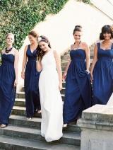 Dark Blue Bridesmaid Long Dress