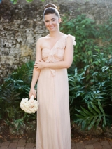 Flounced One-shoulder Chiffon Long Bridesmaid Dress