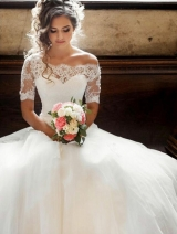 Illusion Off-the-shoulder Princess Wedding Dress