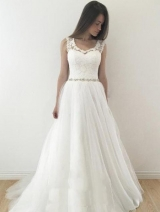 Sleeveless Floral Lace Ivory Wedding Gown