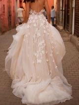 Tulle Skirt Blush Pink Floral Wedding Dress