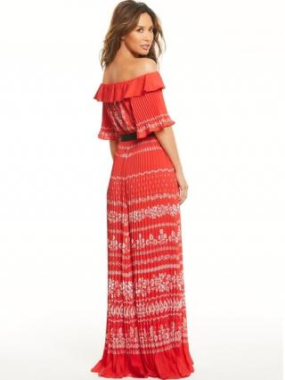 Pleated Bardot Maxi Dress