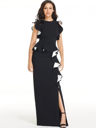 Ruffle Front Maxi Dress