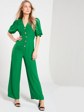 V-Neck Button Through Belted Jumpsuit