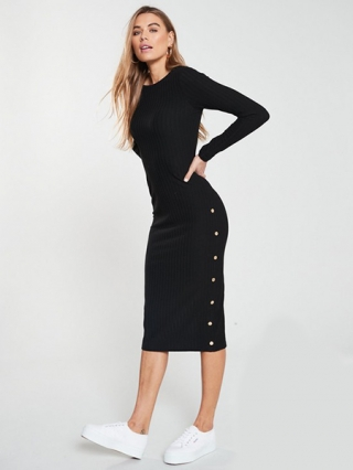 Midi Ribbed Button Dress