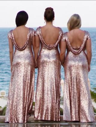 Rose Gold Sequin Bridesmaid Dress