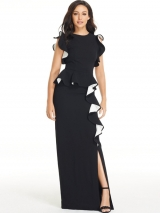 Ruffle Front Maxi Dress