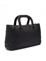 Interlocking Leather Tote - Black