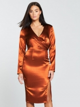 Wrap Satin Midi Dress