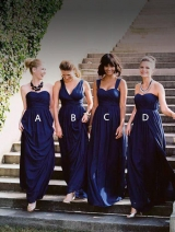Dark Blue Bridesmaid Long Dress