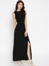 Black Solid Maxi Dress art56899