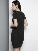 Black & Golden Self Design Sheath Dress