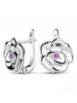 Silver Earrings Roses