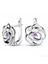 Silver Earrings Roses